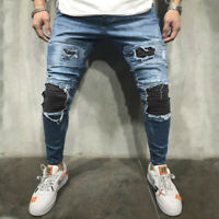 Men Frayed jeans Bike Jeans Denim Pant Ripped Jeans Skinny Jeans Long Trouser