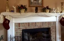 """French Country Rose with Macrame-56""""x 120""""-Floral Scarf-Cream."""