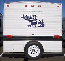 Deer & Cabin Landscape Camper RV Vinyl Decal Sticker Graphics 23x40