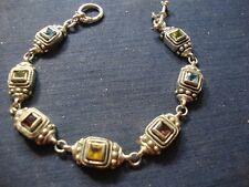 Gem Stone Tennis Bracelet Grandmas Sterling Silver Big Chunky