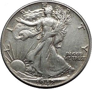 1942 WALKING LIBERTY Half Dollar Bald Eagle United States Silver Coin i45146