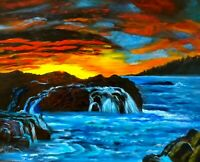 "SEASCAPE ""TROPICAL SHORES AND WATERFALLS, ORIGINAL OIL PAINTING ONE OF A KIND"