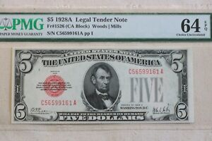 $5.00 1928-A  LEGAL TENDER  RED SEAL UNITED STATES NOTE PMG CHOICE  NEW 64EPQ