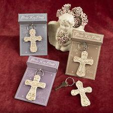Ornate Inspirational Cross Keychain Religious Bridal Shower Wedding Favors