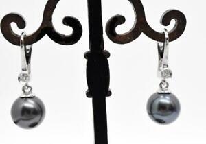 14K White Gold natural Diamond Tahitian Pearl Pierced Lever Back Dangle Earrings