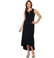 Isaac Mizrahi Live Lace-Up Neck Hi-low Hem Maxi Dress Color Black Size Petite XS