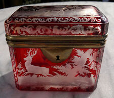 Antique Bohemian Moser Ruby Overlay Glass Casket Box Engraved Stags,Dogs