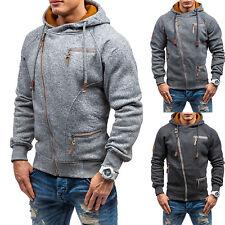 Mens Hooded Sweatshirt Hoodies Sweater Casual Side Zip Up Coat Outwear Jacket