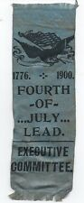1900 Executive Committee Ribbon w/ Eagle & Flag 4th of July Celebration Lead Sd