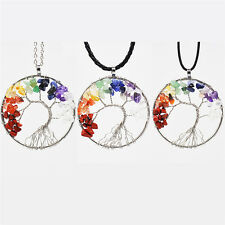 Tree Of Life Pendant Necklace Copper Crystal Natural Stone Necklace ET