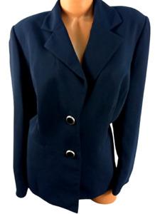 Jones studio blue double button padded lined women's suit jacket 18W