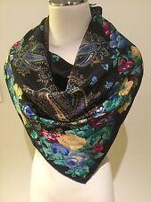 100% Silk Crepe de Chine Paisley & Floral Scarf 84cm x 84cm Handroll Edges