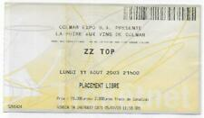 RARE / TICKET BILLET DE CONCERT - ZZ TOP : LIVE A COLMAR ( FRANCE ) 2003