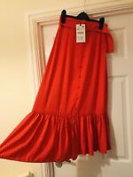 Zara Red White Belted Polka Dot Spot Retro Midi Ruffled Hem Skirt Size XS New