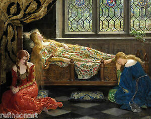 The sleeping beauty by John Collier Giclee Canvas Print