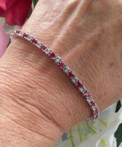 "GORGEOUS! Round Cut Ruby & White Sapphire Tennis Bracelet, Rhodium/925,  7 3/4"""