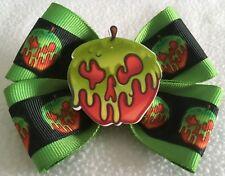 "Girls Hair Bow 4"" Wide Halloween Poison Apple Skull Green Ribbon French Barrette"