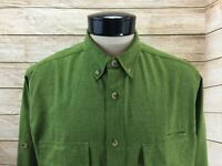 Woolrich Button Front Shirt Men's Large Green LS Polyester