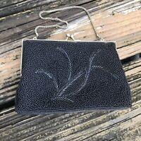 Vtg Black Floral Beaded Purse Evening Bag Clutch Gold Frame Satin Lining 50s 60s