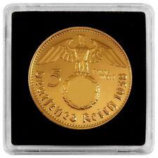 +++ 5 Reichsmark 1938 mit HK - 24 Karat vergoldet - Kapsel +++