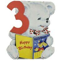 Diecut Happy Birthday White Teddy Bear 3 Years Old Norcross Greeting Card Vtg