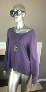 EILEEN FISHER Solid PLUM Purple SCOOP Neck JERSEY Knit Long Sleeve TEE Top XL 🌸