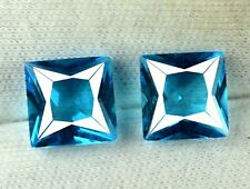 7.35 Ct Blue Indicolite Tourmaline Gems Pair Natural Princess Cut Certified DG15