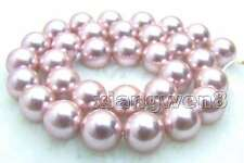 """12mm Purple Round Sea Shell Pearl Loose Beads for Jewelry Making DIY Strands 15"""""""