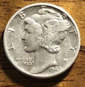 1942 D Mercury Silver Dime 90% Silver A1623