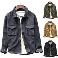 Men's Casual Vintage Coats Jackets Corduroy Retro Short Lapel Cord Denim Tops