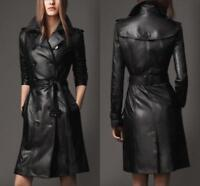 Womens Lady Leather Trench Coat Parka Mid Long Knee Length Coat Jacket With Belt