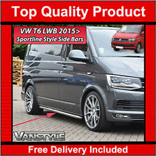VW T6 2015+ TRANSPORTER LWB SPORTLINE SIDE BARS OEM QUALITY 60MM STAINLESS STEPS