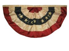 BEST QUALITY - 3' x 6' PATRIOTIC AMERICAN FLAG BUNTING - EMBROIDERED TEA STAINED