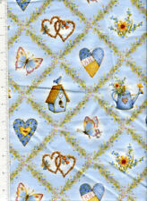 2013 ~ HOLLY HOBBIE FLANNEL LATTICE FLORAL ~ fabric heart butterfly birdhouse