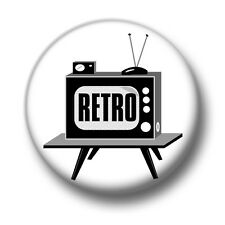 Retro TV 1 Inch / 25mm Pin Button Badge Television Set Box Tube Old Vintage Cute