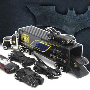 Set of 7 Batman Batmobile & Container Truck Model Car Toy Vehicle Kids Black