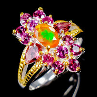 Beauty Rainbow6x4mm Natural Orange Opal 925 Sterling Silver Ring Size 7/R125395