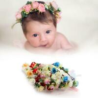 Baby Kids Flower Hair Garland Ribbon Crown Headband Floral Wreath Hairband