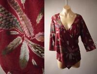 Feather Pattern Crossover Faux Wrap Sweater Knit Top 261 mv Blouse 1XL 2XL 3XL