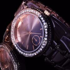 Excellanc Uhr Damenuhr Armbanduhr Bicolor Schwarz Rose Gold Farben Metall Strass