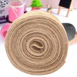 10m/roll 2.5cm Burlap Natural Jute Fabric Hessian Ribbon Wedding Party Decor DIY