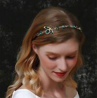 Women Green Gem Crystal Retro Gold Royal Hair Headband head Band Hoop accessory