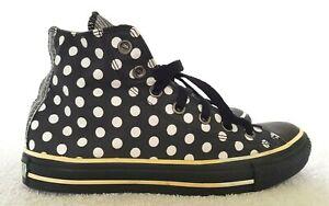 CONVERSE ALL STAR Designer Ladies Black/White Polkadot Sneakers size 8 GRT