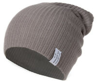 Soft Ribbed Ski Beanie Slouch Slouchy Knit Hat Heather Gray