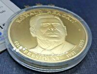 Ronald Reagan 2009 Gold Plated Presidential Dollar Trial Medal w/c.o.a.