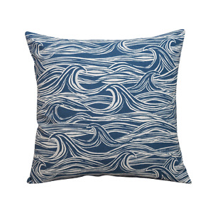 "Coastal Waves Cushion in Indigo Blue. 17x17"" Square. Nautical Seaside Design."
