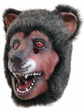 Halloween Bear avec Dents et fourrure Masque plein Overhead Effrayant New Latex Animal