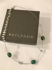SILPADA N1888 Blue Green Chalcedon Turquoise Sterling Silver Bead Necklace New