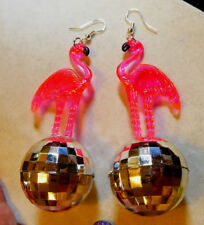 BIG PINK FLAMINGO & 70s and 80s  EARRINGS SILVER DISCO BALL LUAU PARTY USA