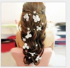 White flower #P crystals Pearls Beads Bridal Wedding Headpiece Hair Accessories